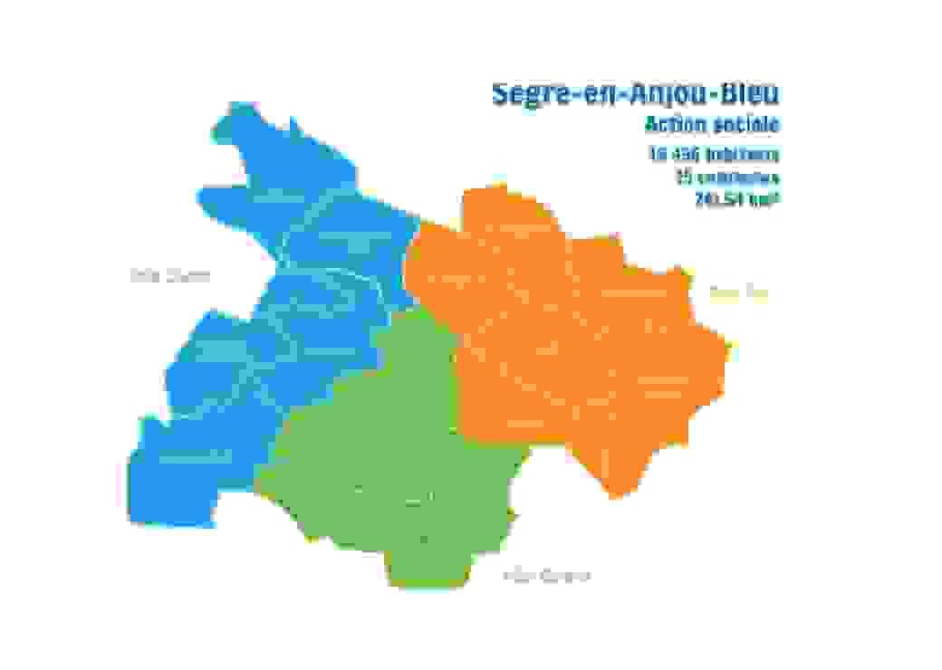 Carte de la Commune Nouvelle Segré-en-Anjou-Bleu