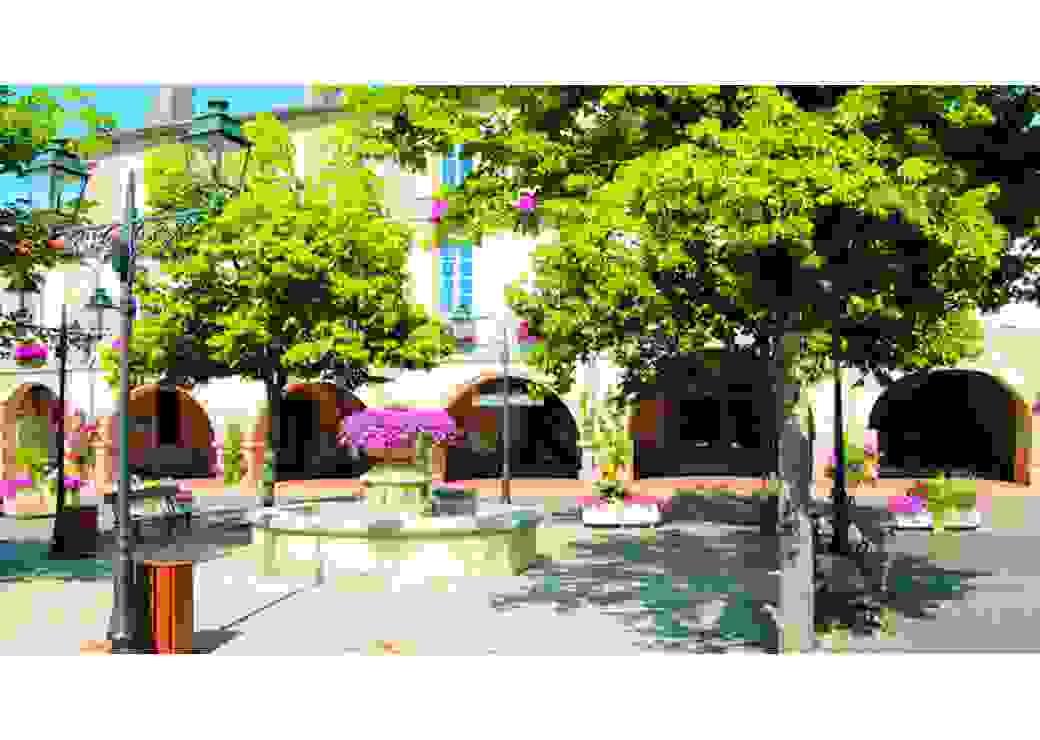 Maisons anciennes et difficiles à entretenir autour d'une jolie place du Gers