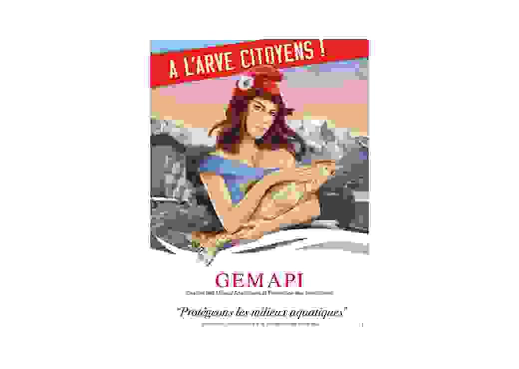 Afdfiche de communication pour la Gemapi : Marianne tient une truite