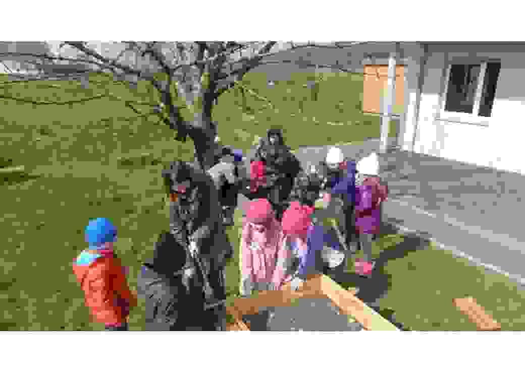 Enfants installant des bacs avant plantation dans la cour d'école