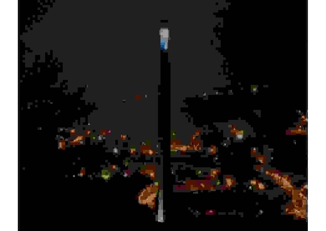 Cheminée des étaings illuminée