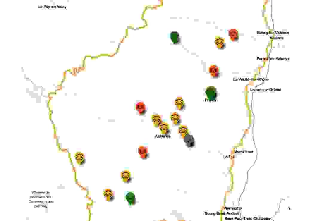 Carte des tiers-lieux du réseau Trame 07