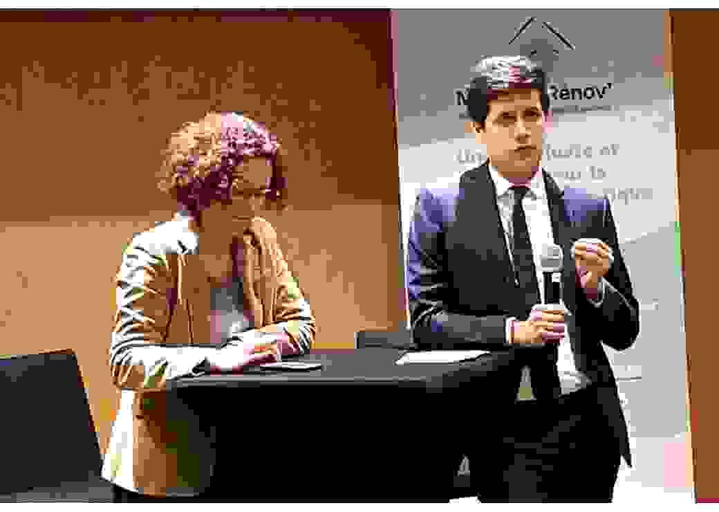 Emmanuelle Wargon et Julien Denormandie au siège de l'ANAH
