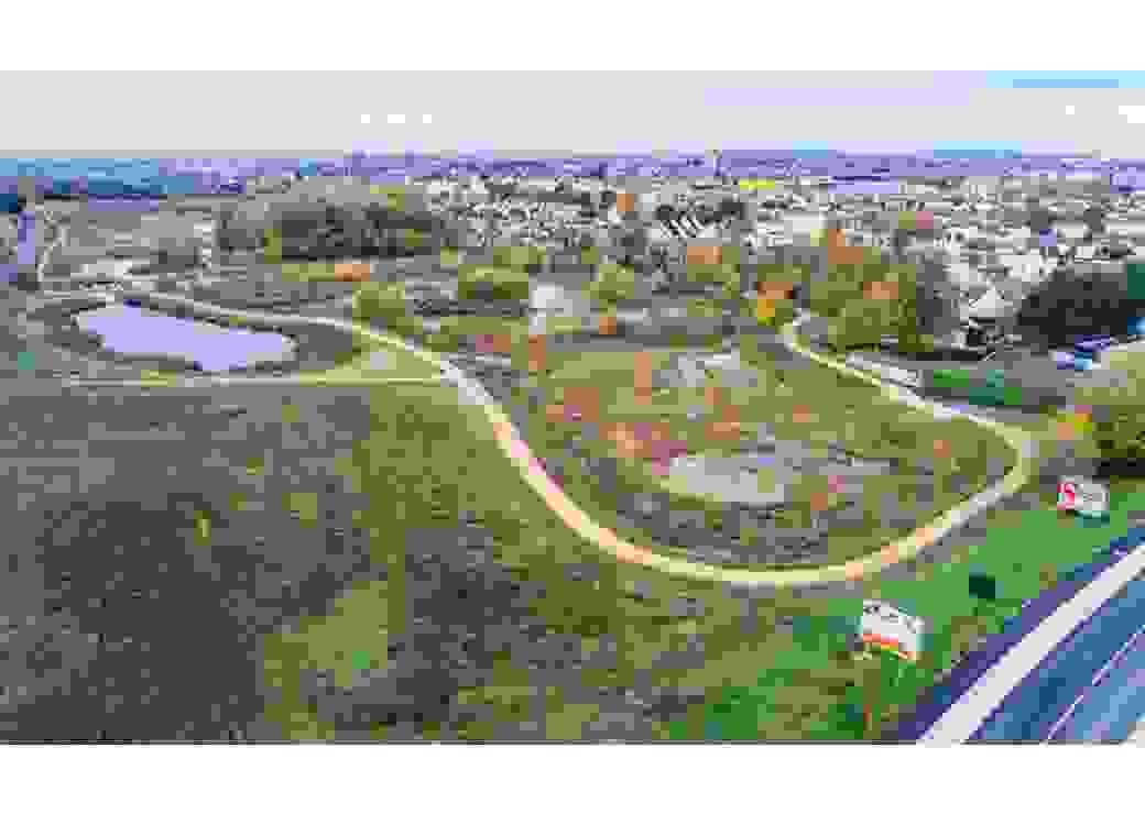 Vue aérienne de la zone d'expansion des crues