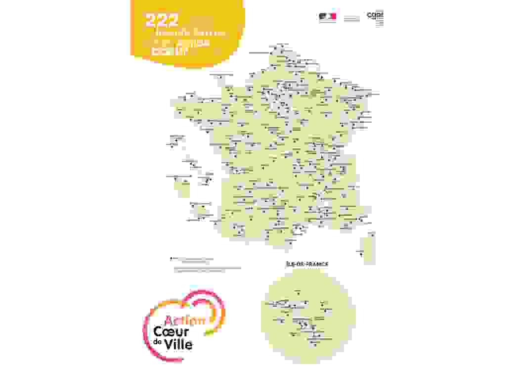 222 villes bénéficiaires du programme Action Cœur de Ville