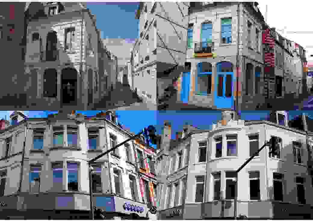 Deux bâtiments de la ville d'Arras, photographiés avant et après réhabilitation
