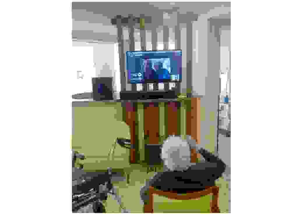 Une personne âgée est installée devant un téléviseur dont l'écran montre deux personnes qui semblent être en visioconférence
