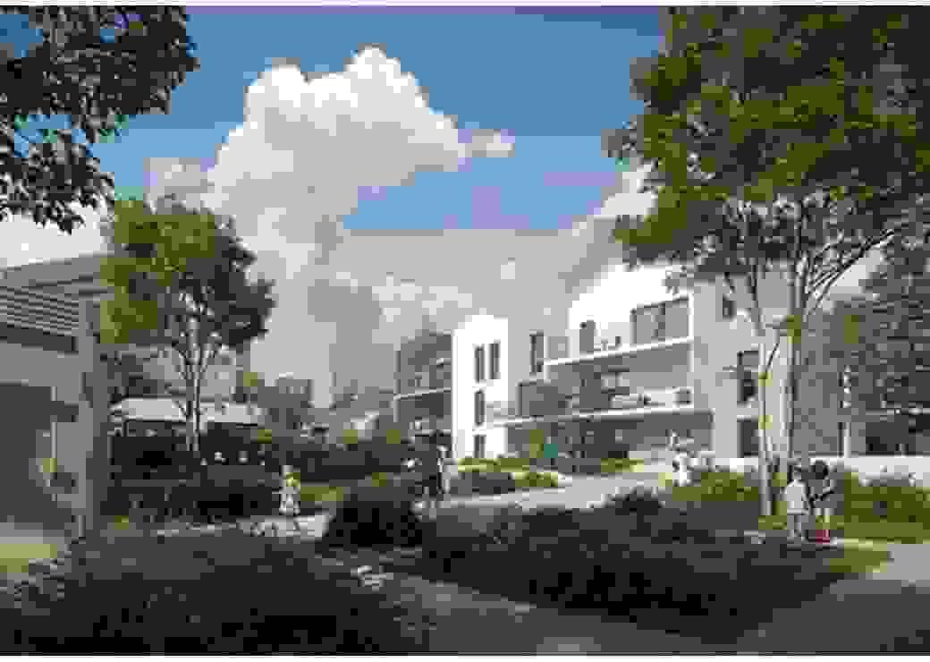 Image numérique d'un projet d'aménagement montrant des bâtiments neufs et des enfants jouant aux pieds des constructions