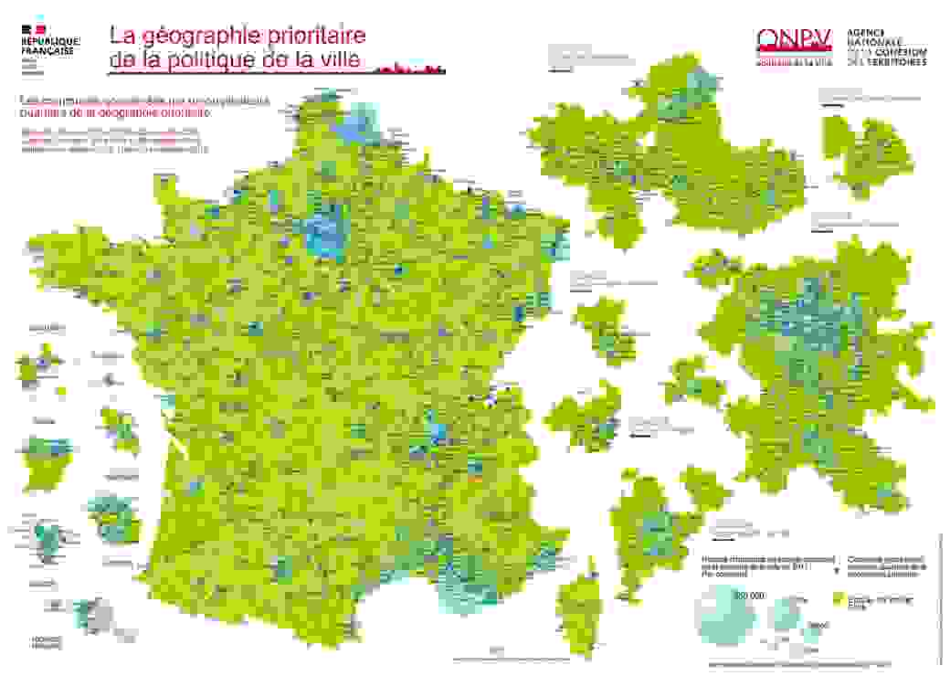 Les 1 514 quartiers de la politique de la ville en France