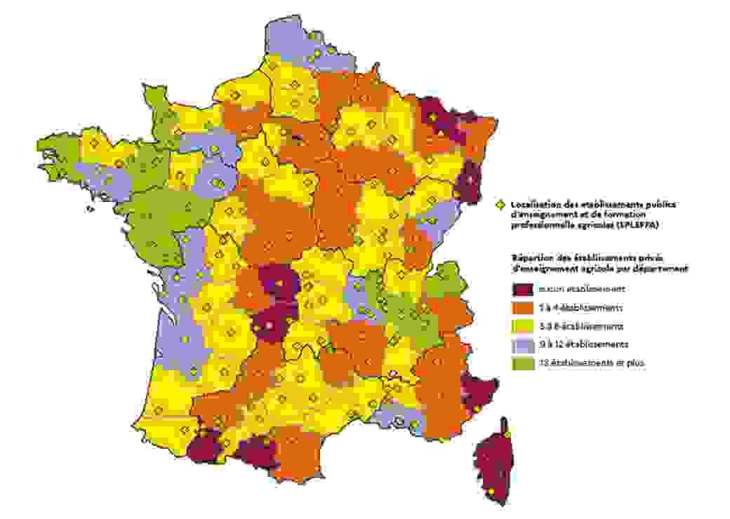 carte lycées agricoles