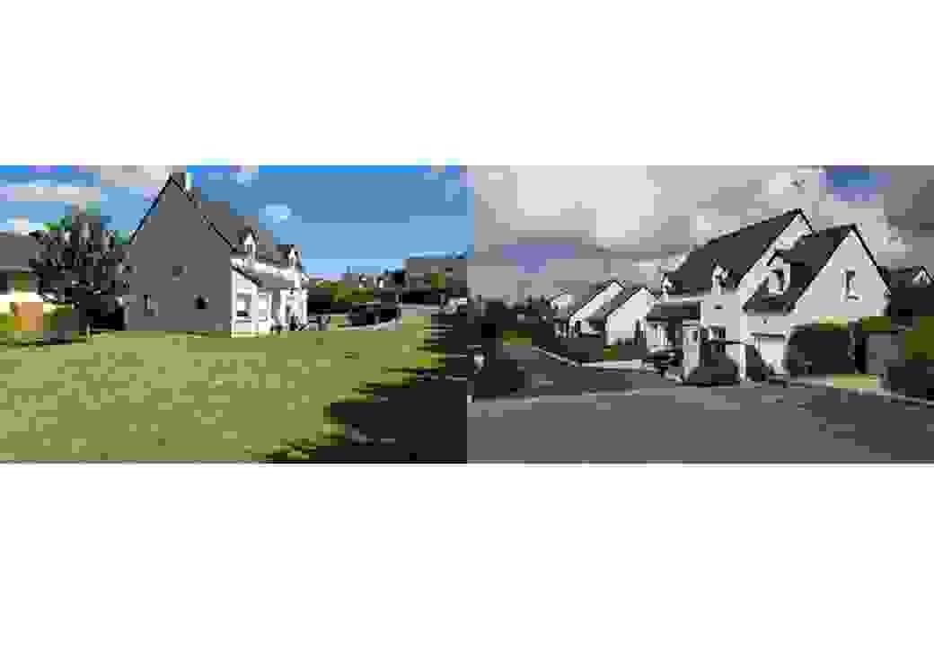 Deux photos montrent une maison, avant et après la construction d'une deuxième maison sur une partie du jardin de la première maison