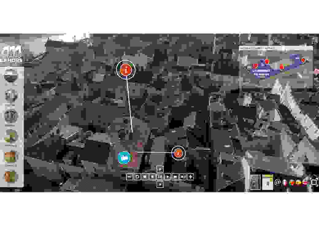 Page internet avec  une photo aérienne montrant les toits d'une ville, avec en surimpression des icones et des logos