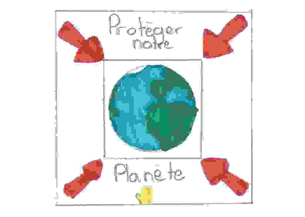"""Dessin d'enfant sur lequel on peut lire """"protéger notre planète"""""""