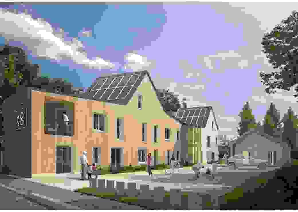 Image de synthèse d'un bâtiment neuf au toit couvert de panneaux solaires et à la façade en bardage de bois