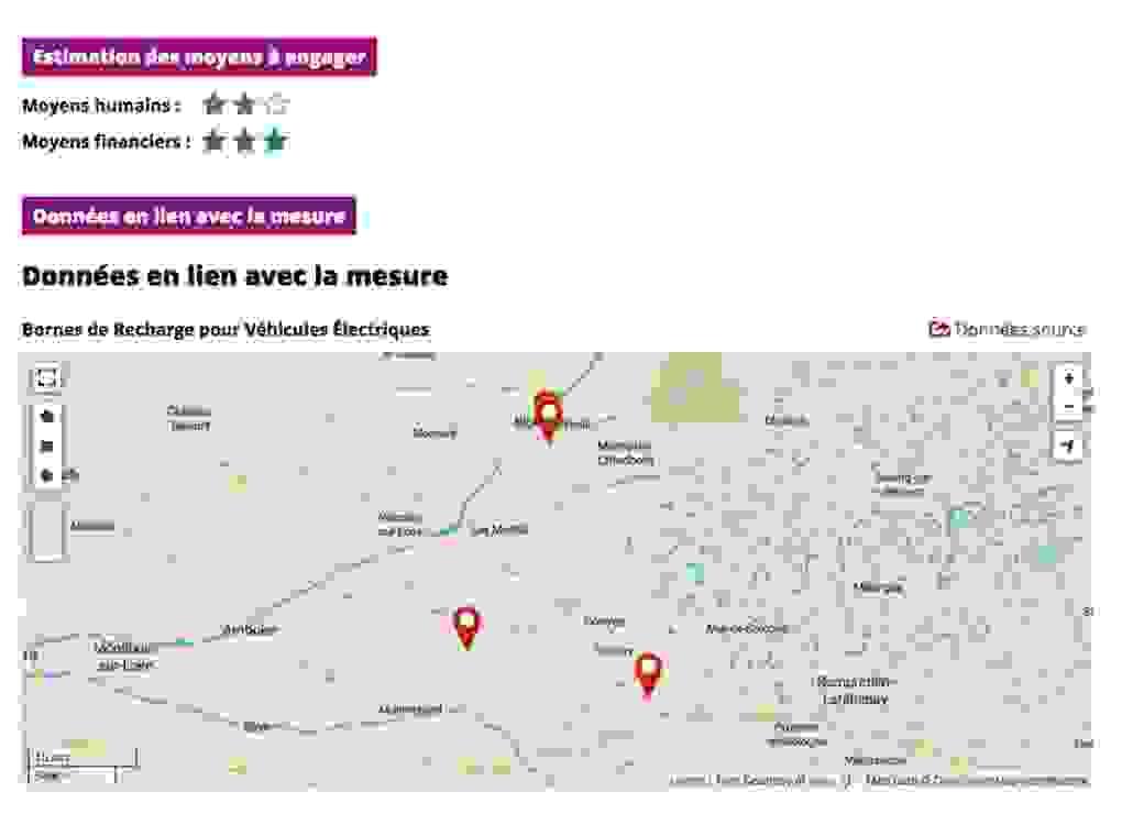 """Capture d'écran où l'on peut lire """"estimation des moyens à engager"""", """"donner en lien avec la mesure"""", au dessus d'une carte où sont apposés trois repères rouges"""