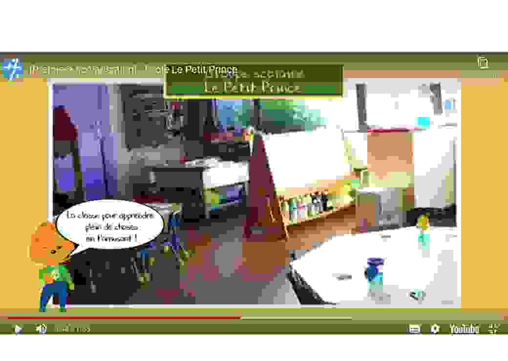 """Capture d'un écran youtube avec un photo qui montre une salle de classe de maternelle et un petit personnage avec une bulle qui dit """"la classe pour apprendre plein de choses en t'amusant!"""""""