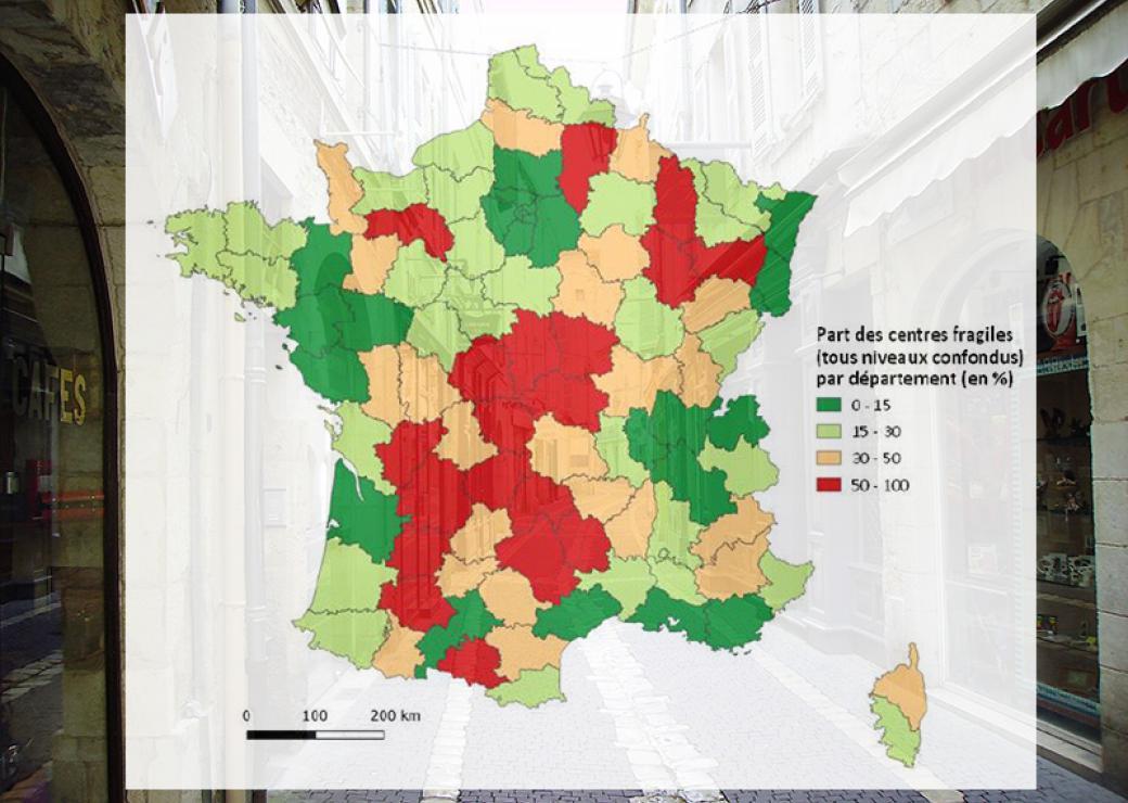 Dévitalisation des centres de petites villes : une vingtaine de départements particulièrement fragiles